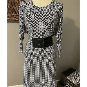 Michael Kors Belted Black & White Geo Print Dress